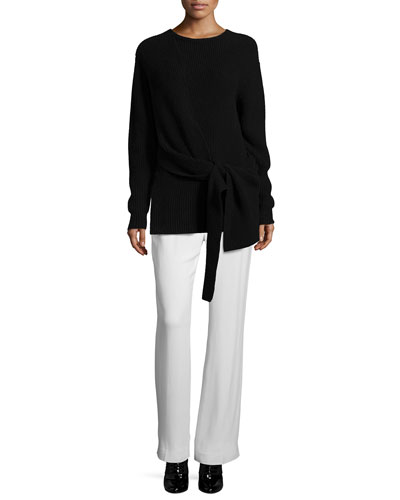 Draped Tie-Front Pullover Sweater & Shirred-Waist Straight Leg Pants