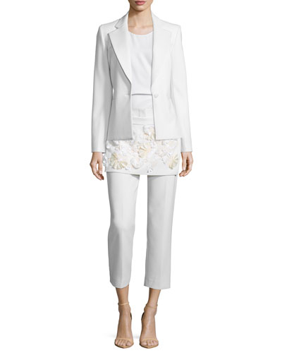 One-Button Blazer, Ruched Asymmetric Shell Top & Floral Embellished Apron Pants
