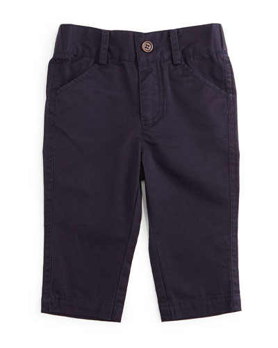 Twill Straight-Leg Pants, Navy