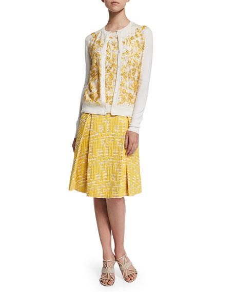 Oscar de la Renta Long-Sleeve Floral-Embroidered Cardigan,