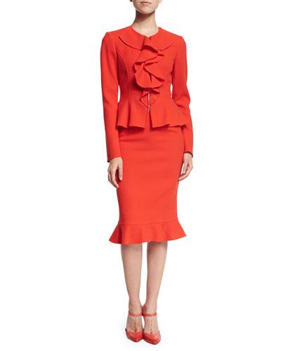 Long-Sleeve Ruffle-Front Jacket & Pencil Skirt, Vermillion