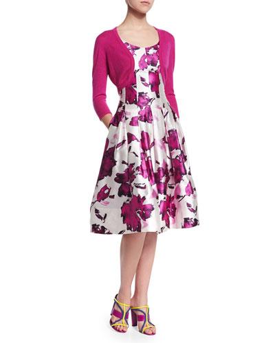Cashmere/Silk Knit Bolero & Watercolor Floral-Print Mikado Cocktail Dress