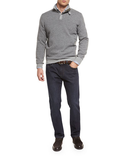 Diamond-Jacquard Quarter-Zip Pullover Sweater, Check Flannel Long-Sleeve Sport Shirt & Five-Pocket Stretch Denim Jeans
