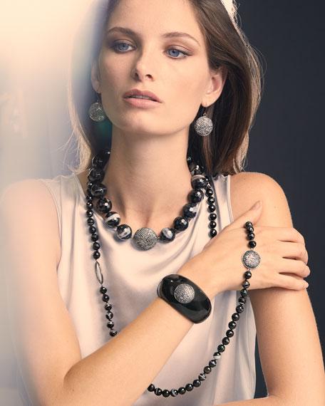 NEST Jewelry Pave Hematite Circle Drop Earrings