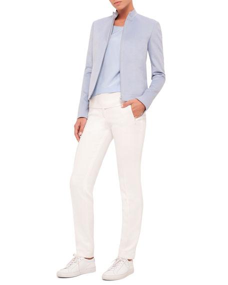 Akris punto Straight-Leg Front-Zip Pants, Cream