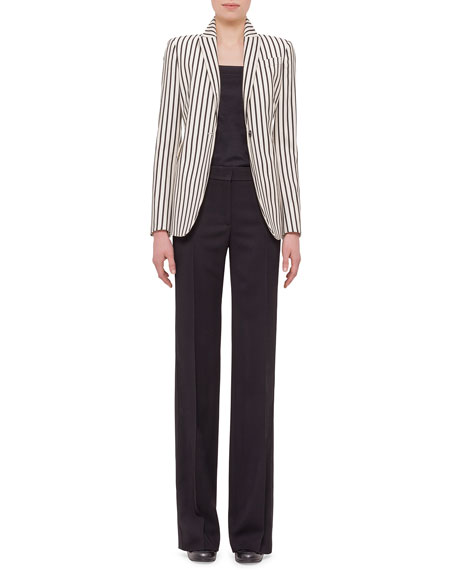 Akris puntoOne-Button Striped Jacket, Cream/Black