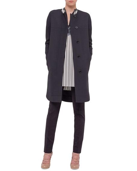 Akris punto Long-Sleeve Long Coat, Black