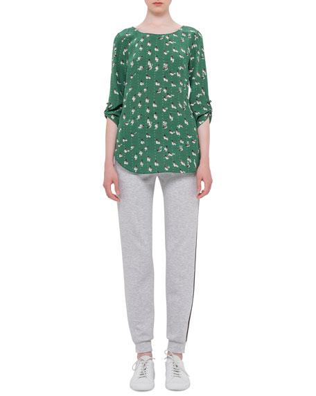 Akris punto Flo Slim-Leg Pants W/Contrast Stripe, Silver