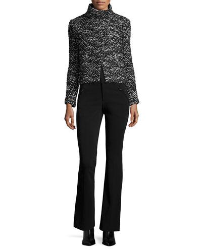 Cropped Tweed Jacket & Techy Slim-Fit Boot-Cut Pants