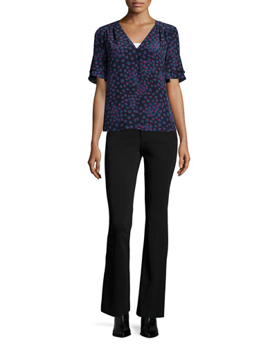 Short-Sleeve Floral Silk Top & Techy Slim-Fit Boot-Cut Pants