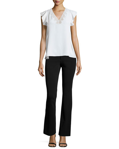 Flutter-Sleeve Chiffon Tank & Techy Slim-Fit Boot-Cut Pants