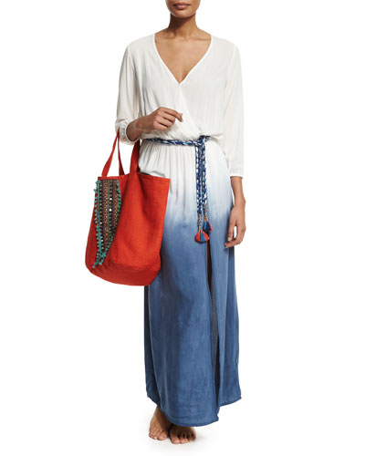Rosental Dip-Dye Maxi Coverup Dress & Hand-Embroidered Tote Bag