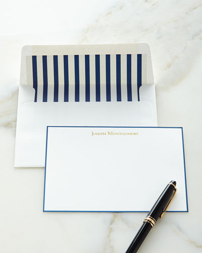 Correspondence Cards Hand Bordered in Navy