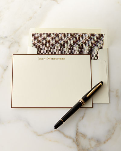 Correspondence Cards Hand Bordered in Chocolate