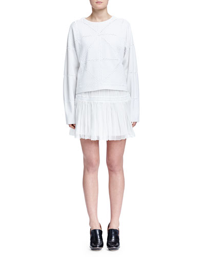 Cashmere-Blend Geometric Macrame Sweater & Pleated Tiered Mini Skirt