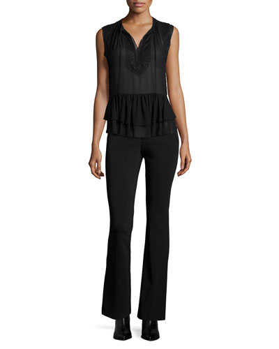 Sleeveless Lace-Trim Silk Top & Techy Slim-Fit Boot-Cut Pants