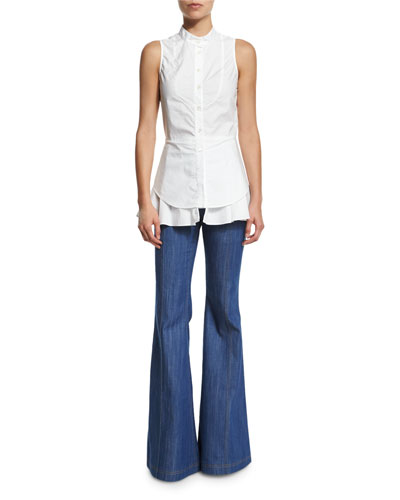 Sleeveless Cotton Button-Front Shirt & High-Waist Flare Jeans
