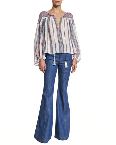 Long-Sleeve Striped Tie Shirt & High-Waist Flare Jeans