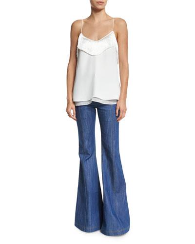 Silk Fringe-Trim Camisole & High-Waist Flare Jeans