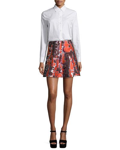 Cotton Poplin Open-Back Shirt & Topiary Jacquard Dakota Mini Skirt