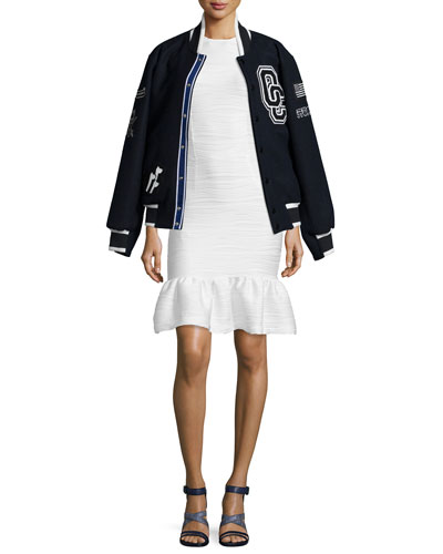 Kennel Club Varsity Jacket & Lotus Wavy Stripe Flounce-Hem Dress