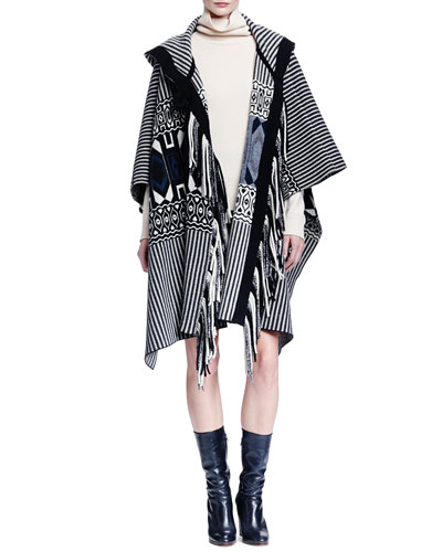 Hooded Geometric-Print Fringe Cape, Cashmere Ribbed-Knit Turtleneck Sweater & Paisley-Embroidered Suede Mini Skirt
