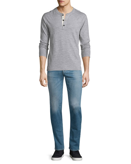 Rag & BoneBasic Long-Sleeve Henley Shirt, Gray
