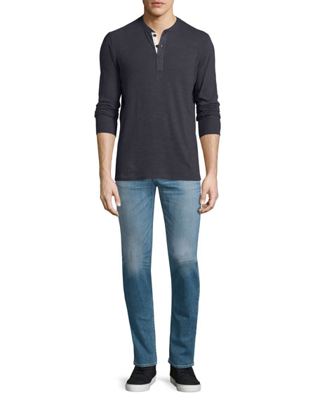 Rag & Bone Basic Long-Sleeve Henley Shirt, Navy