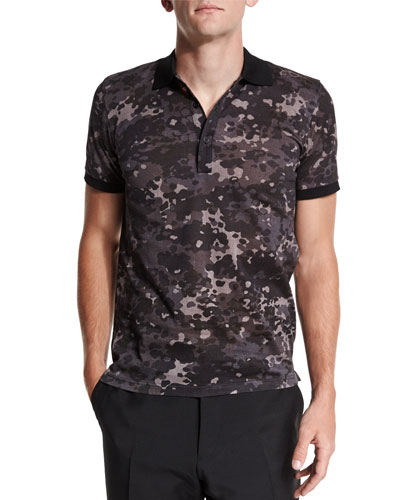 Camo-Print Short-Sleeve Polo Shirt
