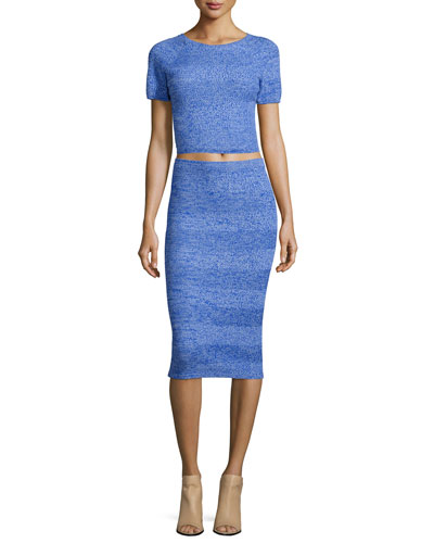 Solange Wool Crop Top & Morena Wool Herringbone Pencil Skirt, Blue