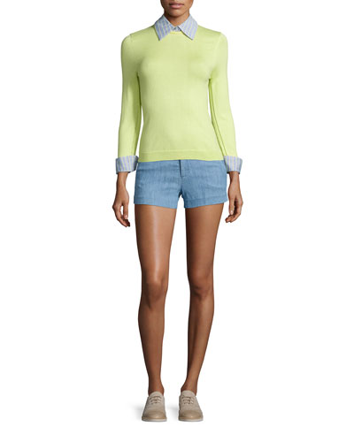 Hester Cotton Pullover Sweater & Cady Chambray Shorts