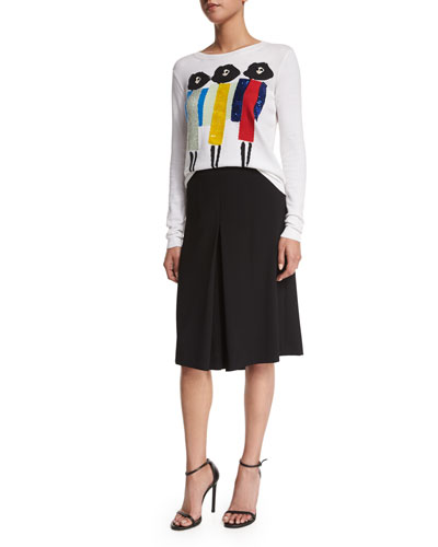 Triple Threat Stacey Sequin-Trim Jersey Tee & Clive Inverted-Pleat Skirt