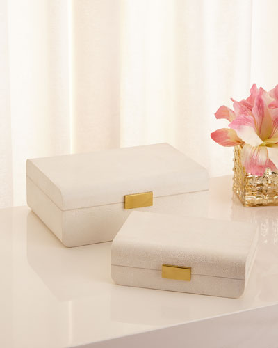 Cream Shagreen Decorative Boxes