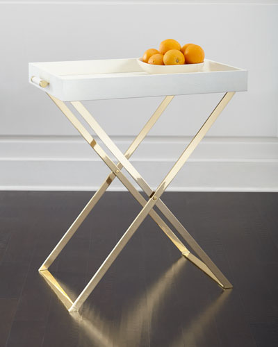 Cream Shagreen Tray & Stand