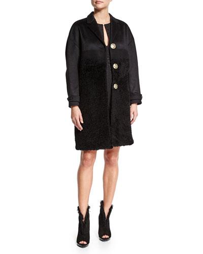 Cashmere/Fur Long Coat & Short-Sleeve Dot-Print Dress
