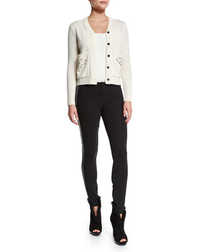 Button-Front Cardigan W/Embellished Pockets & Low-Rise Leggings W/Racing Strip