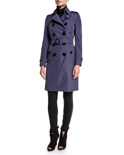 Double-Breasted Belted Trench Coat & Low-Rise Leggings W/Racing Strip
