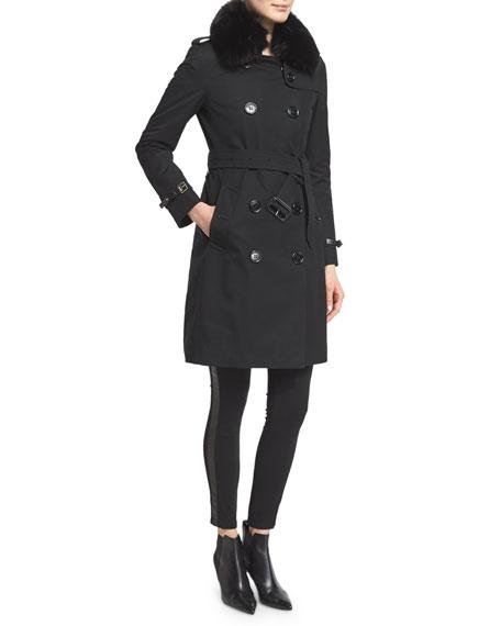 Burberry London Kensington Trenchcoat W/Fur Collar, Black