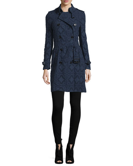 Burberry London Double-Breasted Lace Trench Coat, Ink