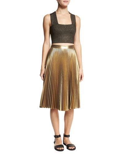 Ali Metallic Crop Top & Gates Pleated Metallic Skirt