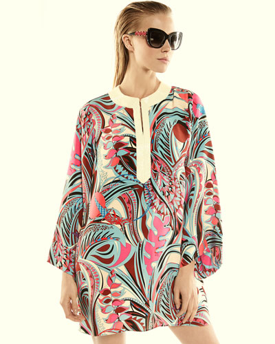 Emilio Pucci Embellished-Neck Printed Long-Sleeve Caftan &