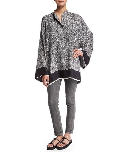Silk Printed Kimono Top & Skinny Denim Ankle Jeans