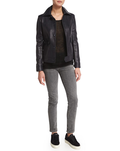 Leather Moto Jacket, Sheer Long-Sleeve Top & Skinny Denim Ankle Jeans