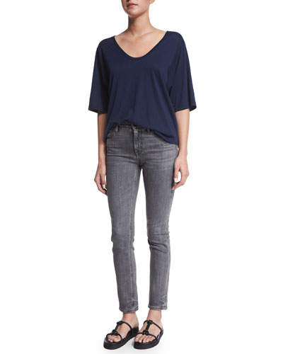 Wide-Sleeve Scoop-Neck Tee & Skinny Denim Ankle Jeans
