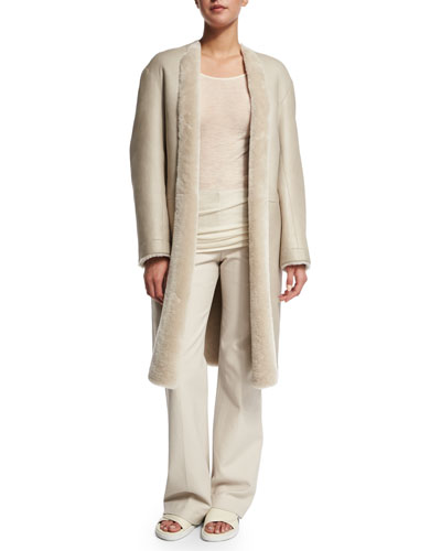 Glossy Shearling Coat, Sheer Long-Sleeve Crewneck Top & Raw Seam Flare-Leg Pants