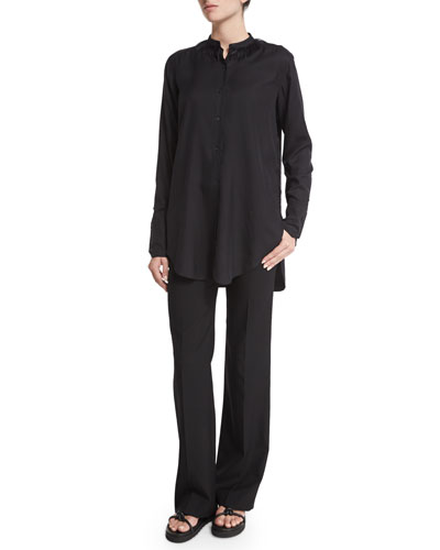 Long-Sleeve Tuxedo Shirt w/Fringe & Gabardine Wool Flare-Leg Pants