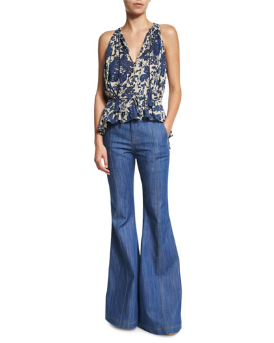 Shirred Floral Blouse & High-Waist Flare Jeans