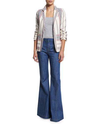 Striped Open-Front Jacket & High-Waist Flare Jeans