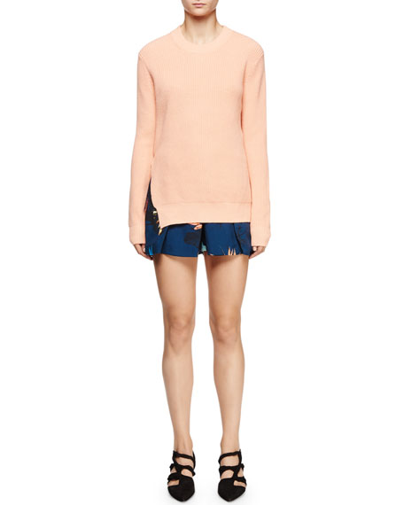 Proenza Schouler Long-Sleeve Cross-Back Ribbed Sweater, Coral