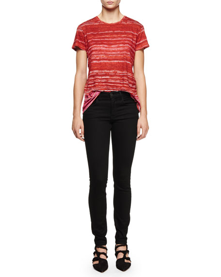 Proenza Schouler Short-Sleeve Multi-Striped T-Shirt, Red